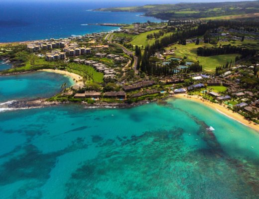 Aerial view of Napili Kai Beach Resort, Maui, Hawaii